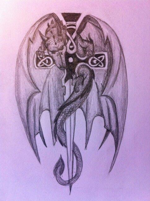 dragon celtic sword tattoo design for a client dragons pinterest sword tattoo design and. Black Bedroom Furniture Sets. Home Design Ideas
