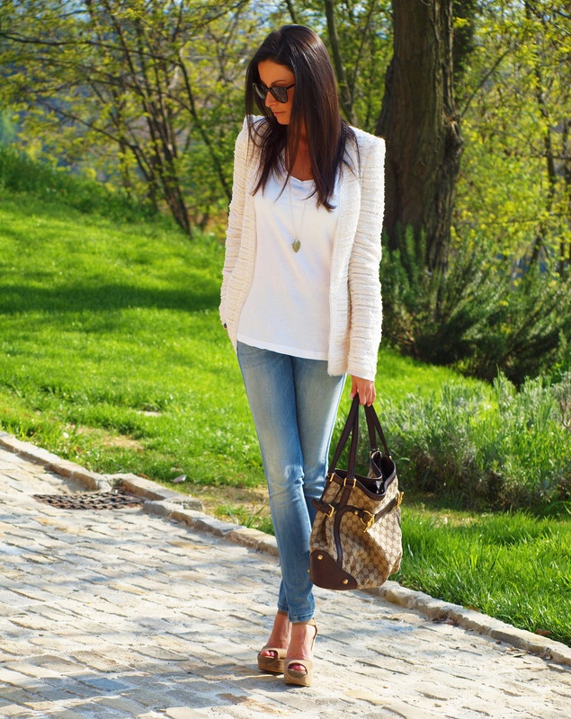 Dress up a t-shirt and jeans with a textured blazer and wedges. Love this blazer! Gotta get out of island dress mentality!!