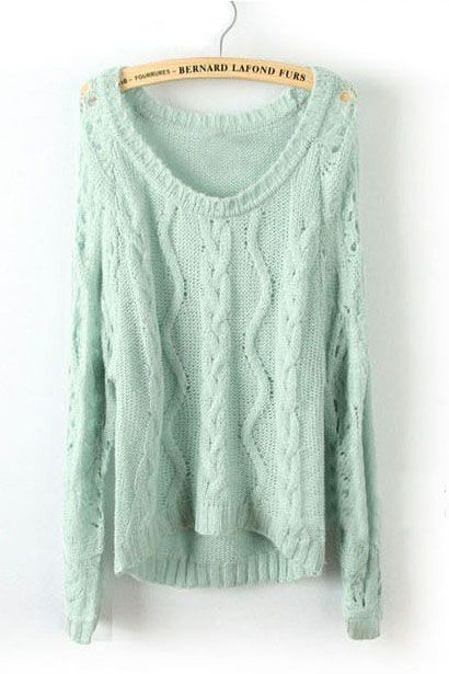 Light Green Long Sleeve Diaper Hollow Pullovers Sweater