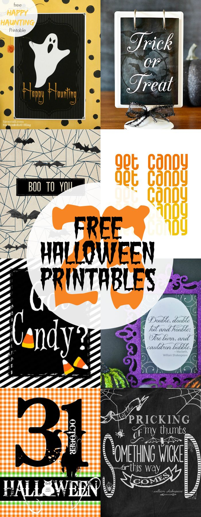 Use the 25 free Halloween printables to decorate your home for Halloween in a hurry.