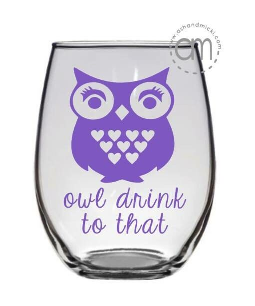 Owl Drink to That Wine Glass, Owl Coffee Mug by AshandMicki on Etsy (null)