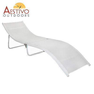 this: Aestivo Outdoors Lounge Chair S-Shape Design - Easy Fold-Out & Lightweight - White