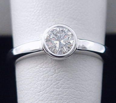 Bezel Engagement Ring Round 50ct Diamond by americanjewelryco, $990.00