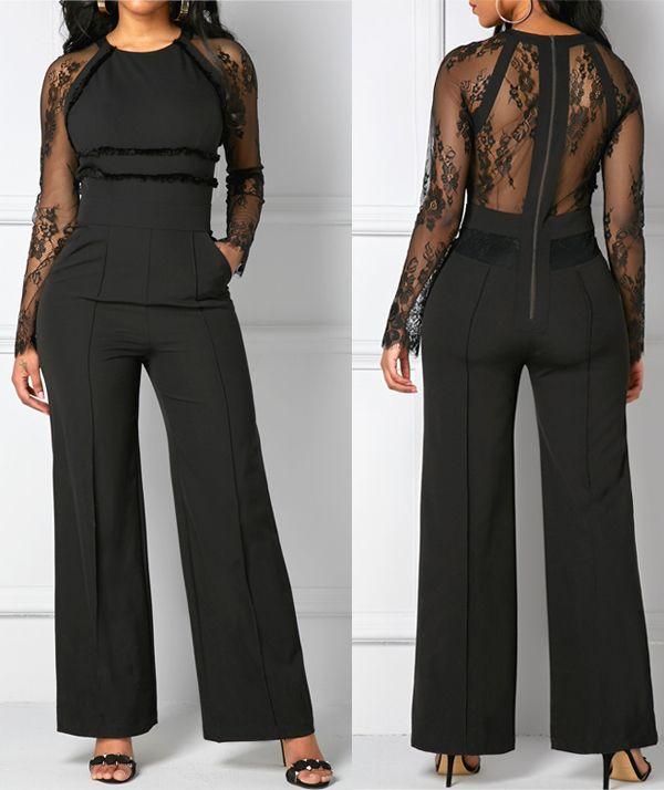 Lace Sleeve Panel Black Zipper Back Pocket Fashion Jumpsuit, rosewe.com.