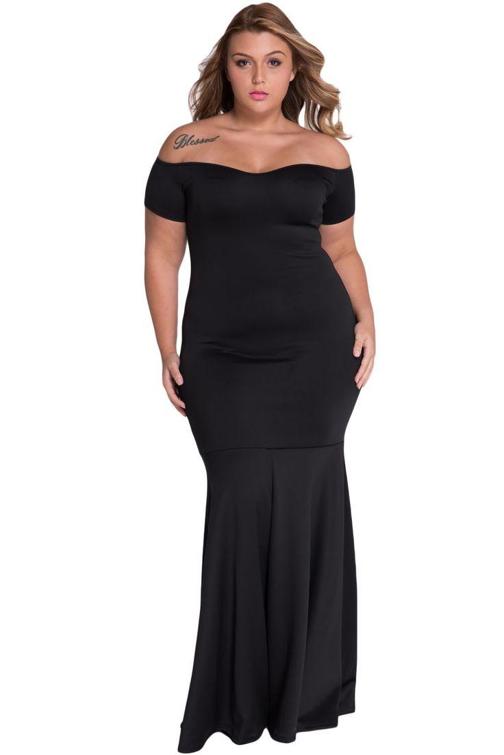 Black plus size off shoulder fishtail her maxi dress