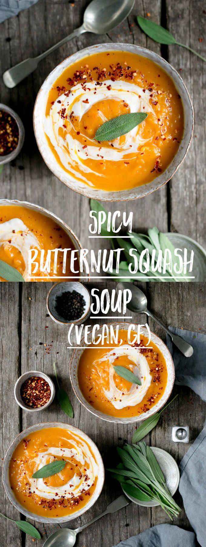 Delicious, velvety smooth spicy butternut squash soup! #vegan #glutenfree #soup #butternutsquash   via @annabanana.co