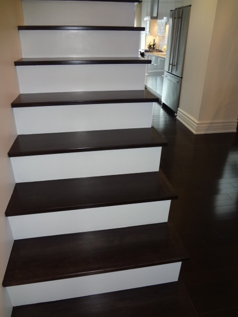 Finished my stairs! Maple treads took 3 coats of stain to match my existing maple floors. Next up, railings!