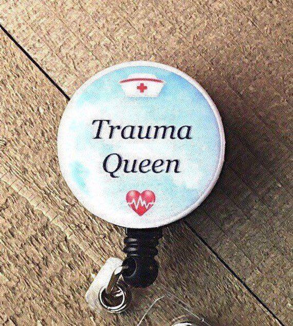 Trauma Nurse Retractable Reel BadgeID Holder with CharmBeads