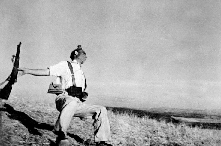 Robert Capa: The Falling Soldier. Spain, 1936  Possibly the most famous of war photographs, this image is all but synonymous with the name o...