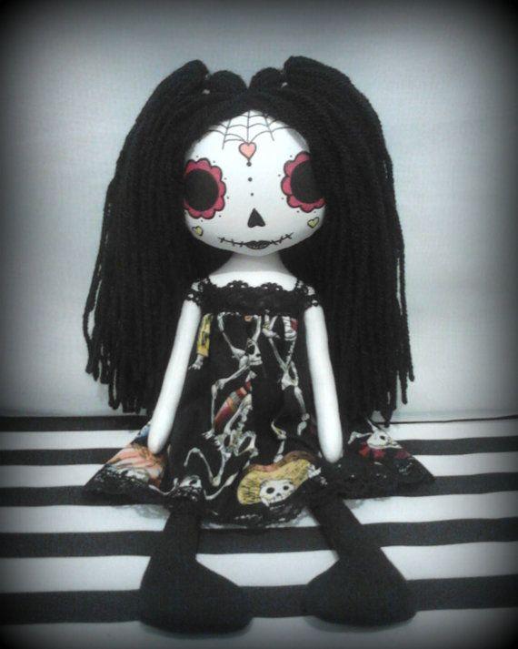 OOAK Day Of The Dead Art Rag Doll - Lola