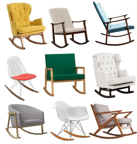 1. Finn Rocker from Anthroplogie $1698 2. Holden Modern Rocking Chair from Hayneedle $199 3. Rocking Chair from Jason Lewis $1850 4. Modernica Wire Rocker Chair $289 5. Curtis Clover Rocker from CB2 $249 6. Empire Rocker from Nursery Works $800 7. West Elm Ryder Rocking Chair $594 8. Eames Molded Plastic Rocker from DWR $549 9. Kennedy Rocking Chair from Thrive Home Furnishings $949 #chairs #rockingchair