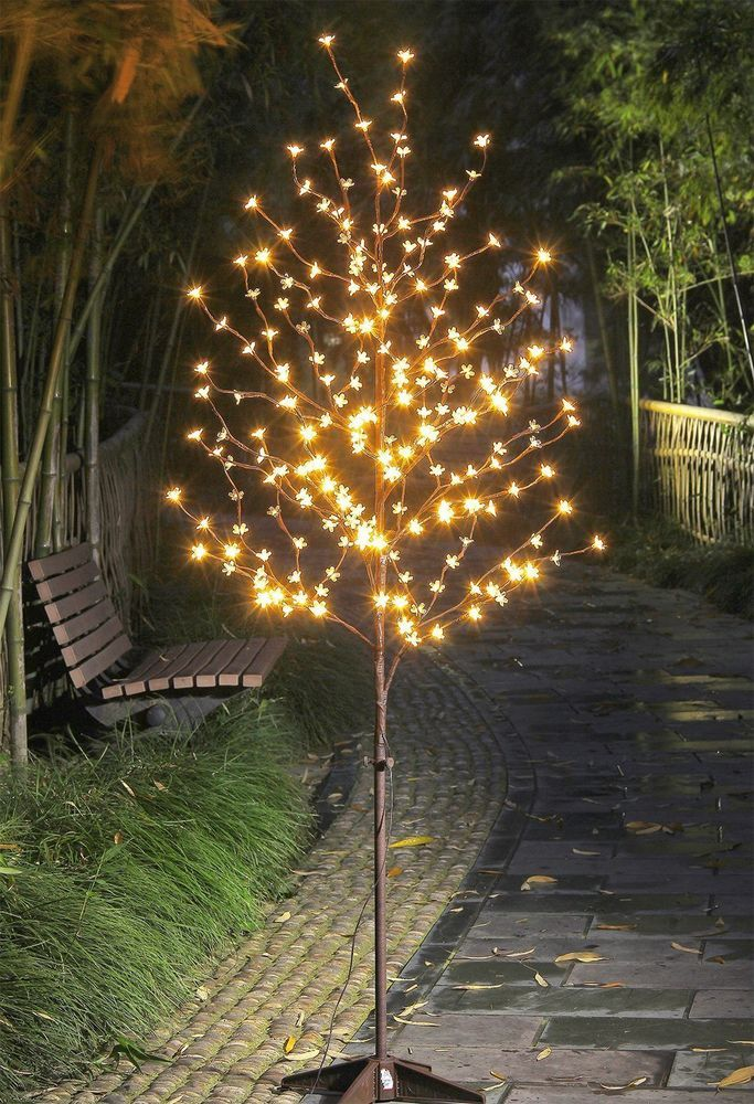 6 Feet Led Lights Cherry Blossom Decoration Tree Home Clear Flower Warm White Cherry Blossom Light Tree Diy Outdoor Lighting Outdoor Trees