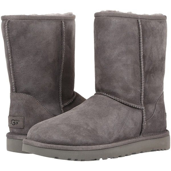 UGG Classic Short II (Grey) Women's Boots ($160) ❤ liked on Polyvore featuring shoes, boots, ugg australia boots, gray boots, grey fur boots, faux-fur boots and platform boots