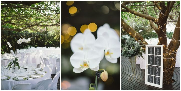 Brightgirl Photography. Wedding Decor and Flowers #orchids #fairylights #White