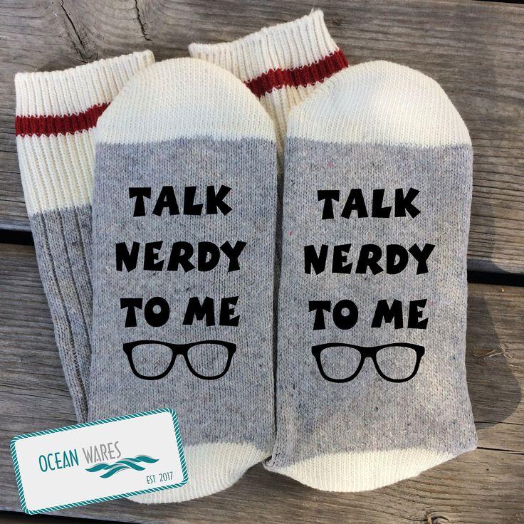 Nerd gift, talk nerdy to me, book nerd, nerd glasses, boyfriend gift, gift for him, gift for her, Word socks, SUPER SOFT Novelty Word Socks
