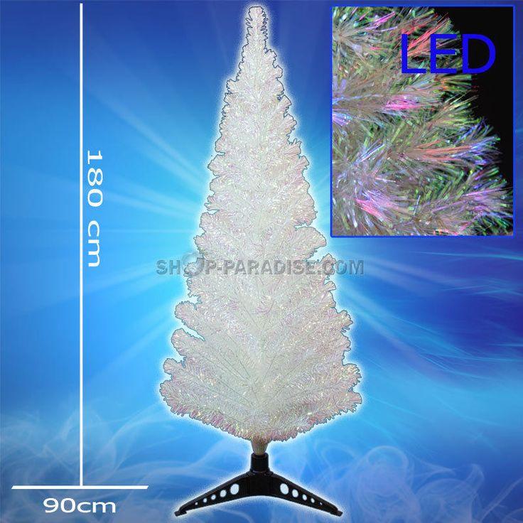 Künstlicher Tannenbaum, Weihnachtsbaum weiss Perleffekt LED 180 cm Christbaum