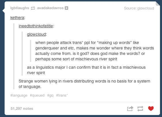 This person who is consulting a linguistics major: | 20 People Bringing The Gay Agenda To Tumblr