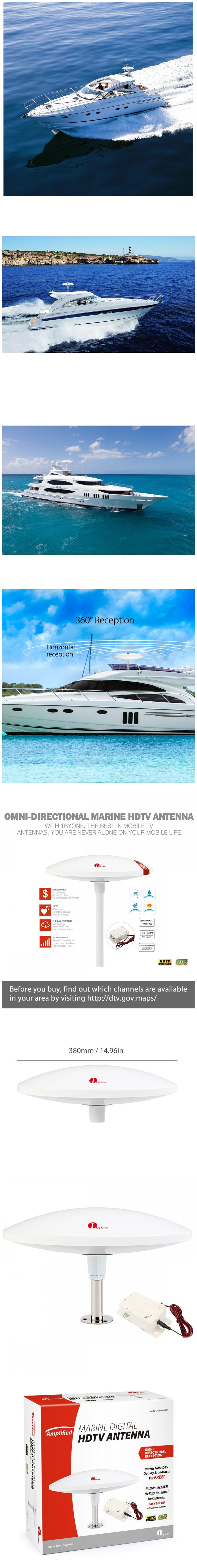 Only $102.99, 1byone Amplified Marine Antenna with Omni-directional 360° Reception, 70 Miles Outdoor HDTV Antenna Boat Antenna with Stainless Steel Base, Suitable for Outdoor and Marine, Anti-UV Coating ,Compact