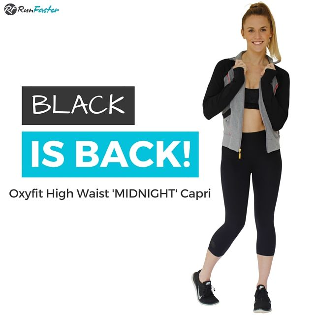 {{ BLACK IS BACK }}  The Oxyfit High Waisted 'Midnight' Capri's are back in stock!  Shop now at http://www.runfastergear.com.au/product/oxyfit-midnight-capri/