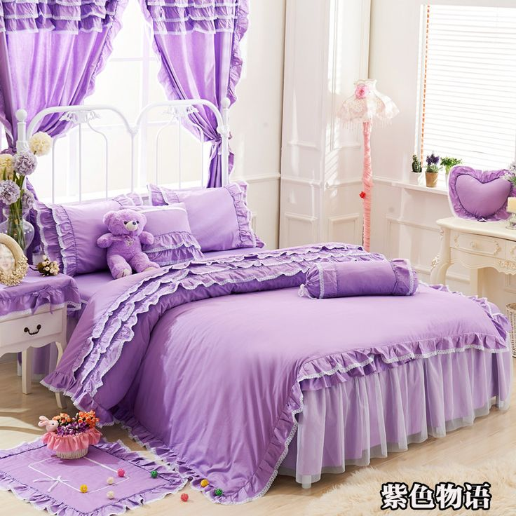 Purple Lace Korean bedding set bedspread bedshirt beautiful princess style girls cotton twin full queen king size duvet covers #Affiliate