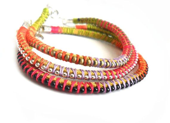 Friendship Bracelets Leather ball chain braid by Daniblu on Etsy, $25.00: Leather Ball, Handwoven Bracelets, Bracelets Sets, Bracelets Leather, Braids Stackable, Chains Multicolored, Ball Chains, Friendship Bracelets, Chains Braids