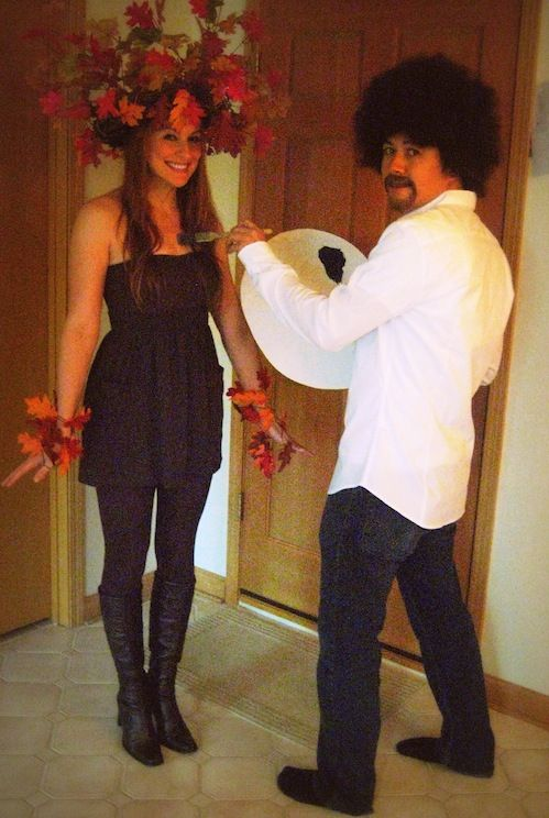 """DIY Couples costumes ~ """"Bob Ross & art subject""""...Hey, that's pretty cool! Does that make me """"nerdy""""?... Probably... Does being nerdy bother me?... Nope! :)"""