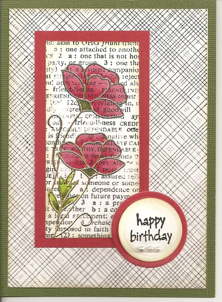 Elizabeth Craft Designs / Had great fun creating this card using Hero Stamps (CG125 Friend Definition and S5507 Envelope Pattern) and Peel-off from Elizabeth Craft Design (2530-G) and colored with Copic Markers.  By Donna H