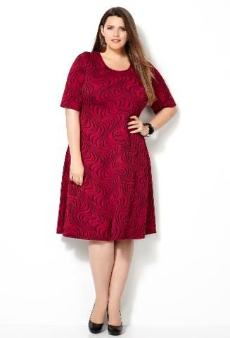 Avenue - Avenue Plus Size Red Swirl Jacquard Dress -  Plus Size Red Dresses Your Valentine Will Adore