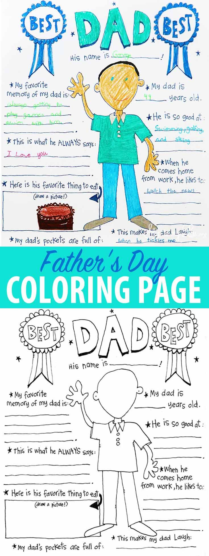 Free printable Father's Day coloring sheet and 'all about dad!' Simp...
