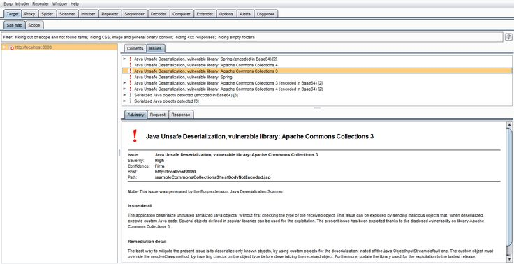 Java Deserialization Scanner is a Burp Suite plugin aimed at detect and exploit Java deserialization vulnerabilities. It was written by Federico Dotta, a Security Advisor at @ Mediaservice.net.  The plugin is made up of three different components:  Integration with Burp Suite active and passive...