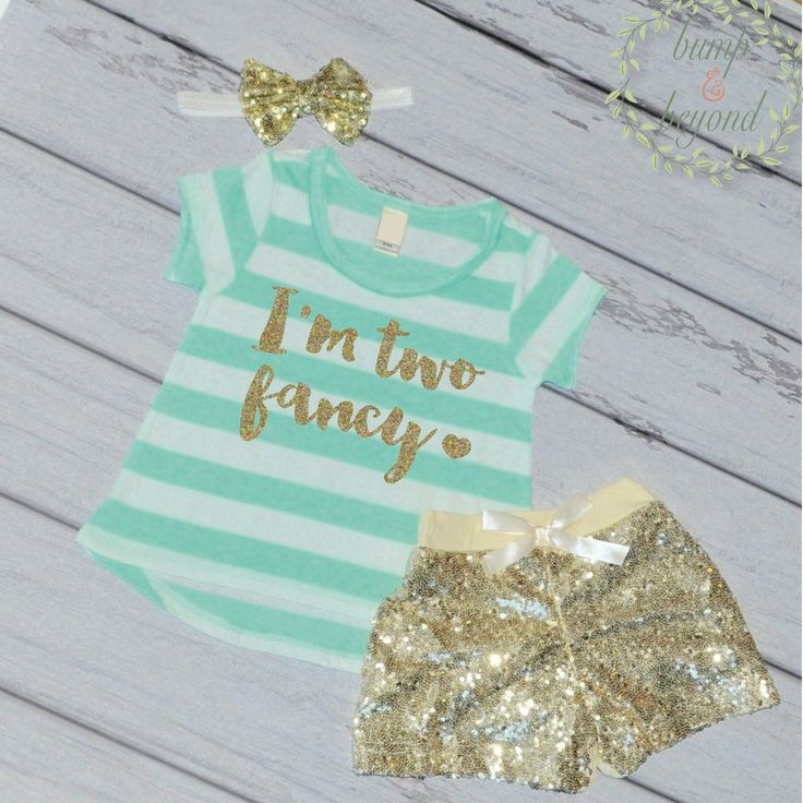 I'm Two Fancy - Second Birthday Outfit Girl Gold Glitter Two Year Old Girl Second Birthday T-Shirt Shorts Headband 137 #2_year_old_birthday #2nd_birthday_girl #baby_girl_birthday