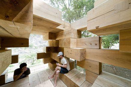 The Jenga wooden house designed by Sou Fujimoto Architects, 2008.