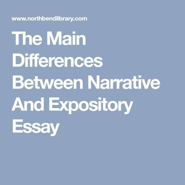 difference between narrative and expository essays Expository, persuasive, descriptive, and narrative papers are the 4 major types of essays difference between types of essays is just a matter of understanding what is the author's goal it can be telling a story about a personal experience, explaining an issue, portraying something, or trying to.