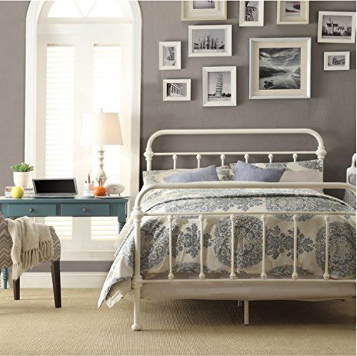 Inspire Q Giselle Antique White Graceful Lines Victorian Iron Metal Bed - Queen Size. This Victorian Style Frame Looks Perfect in Any Bedroom. Includes Headboard Footboard and Rails.. Shopswell | Shopping smarter together.™