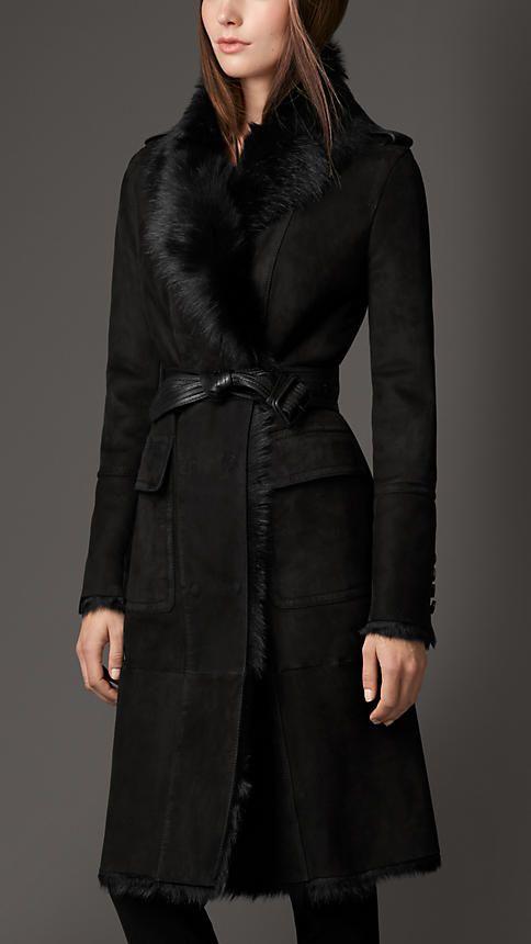 Burberry - Nero Cappotto in shearling con collo a rovescio - Immagine 1