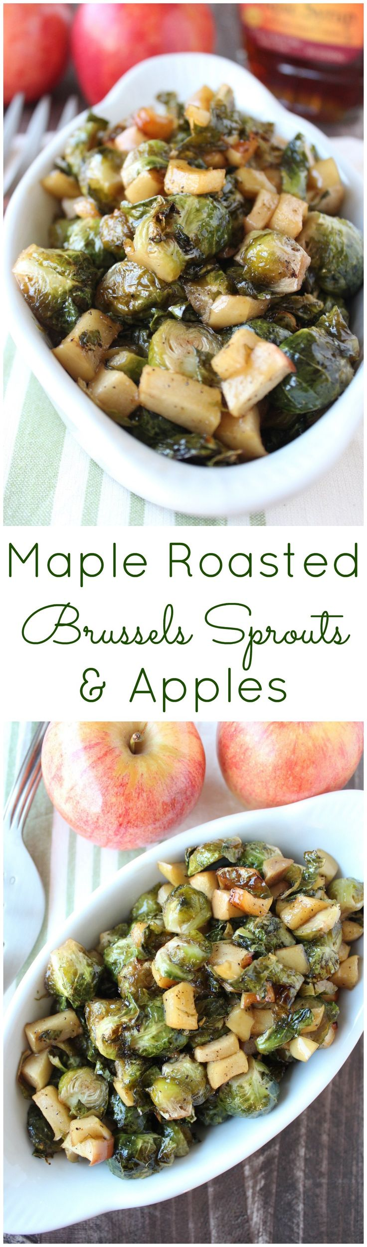 This delectable vegan & gluten free recipe for Maple Roasted Brussel Sprouts & Apples is the perfect side dish for Thanksgiving, Christmas or a fall dinner party! #Vegan #GlutenFree #BrusselsSprouts #Thanksgiving