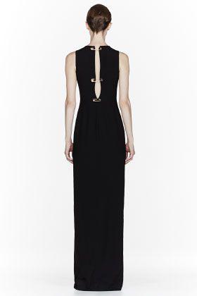 Versus Black Pinned Cut Out Long Dress for women | SSENSE