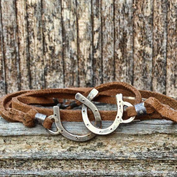 Cowgirl jewelry  Double Horseshoe leather wrap bracelet by JoLovesJewelry