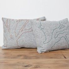 arbutus tree, embroidery, wool felt, pillow, cushion, toss pillow, vintage, furniture, north vancouver, mcm, north van, bc, handmade, shop local, home decor