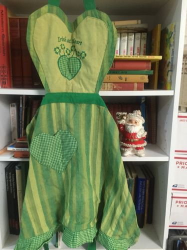 Vintage-Adorable-Green-Irish-at-Heart-Heart-Striped-And-Gingham-Apron
