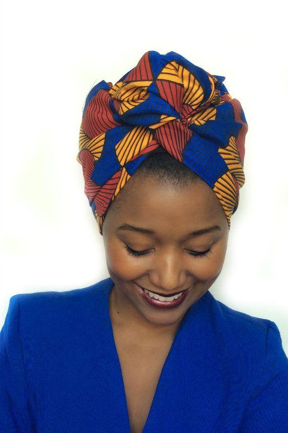 Turban pré-cousu / Foulard cheveux facile / Tissus africain                                                                                                                                                                                 Plus