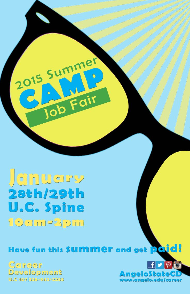 angelo state university summer camp job fair  angelo state university summer camp job fair 2013 29 31 10 00am 2 00pm u c spine career development flyer career