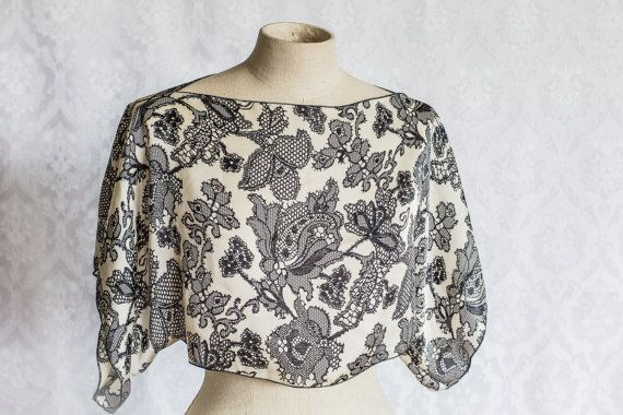 Flower lace print satin top by KitsuneCoutureFI on Etsy