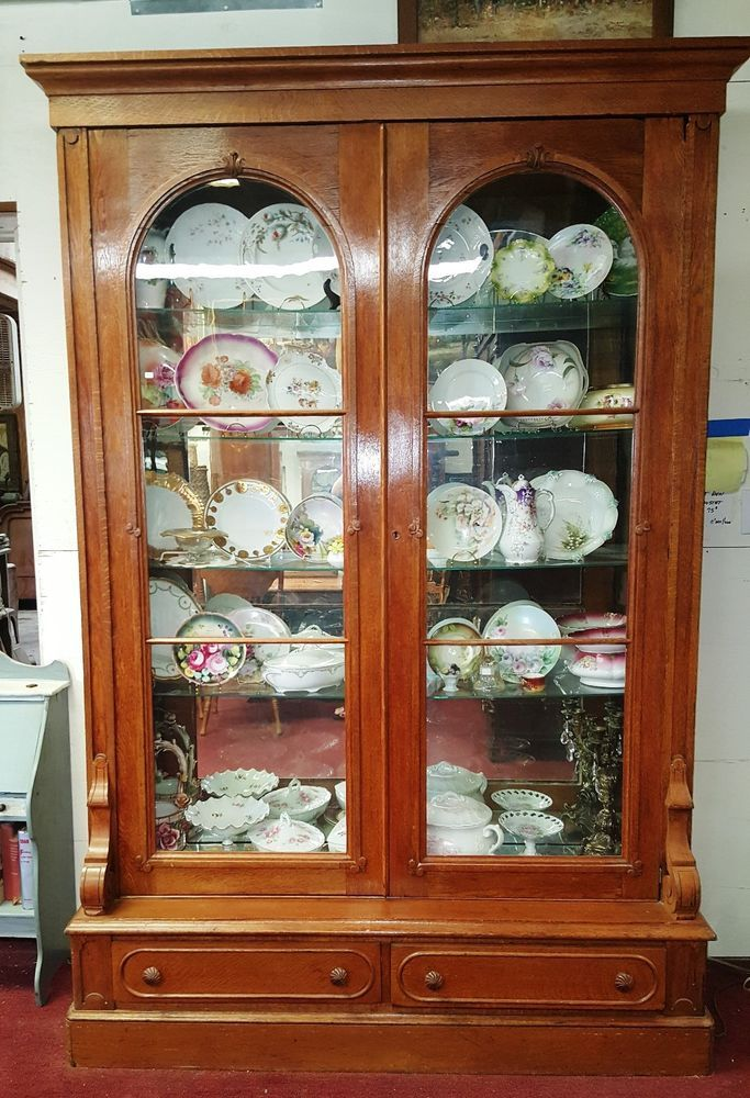 Antique American Oak Display Cabinet Bookcase Vitrine 2 Arched Glass Doors  H94