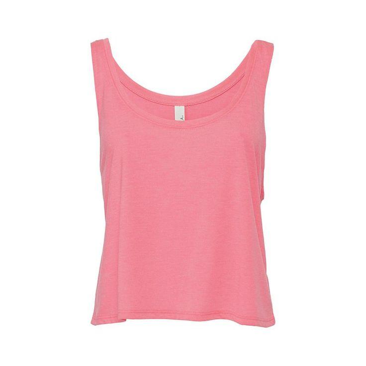női ujjatlan felső oldal kivágás Bella Canvas Flowy Boxy  neon rózsaszín front