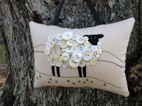 Ireland White Sheep Decoration Irish Primitive Embroidery