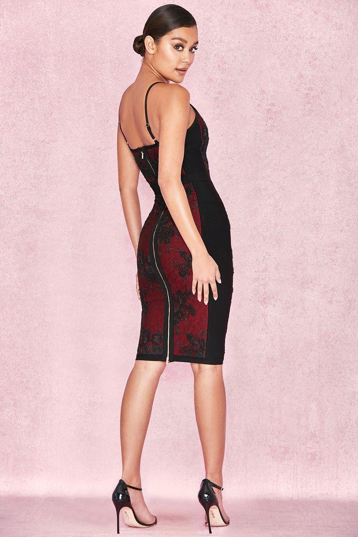 Clothing : Bandage Dresses : 'Akita' Black & Wine Embellished Bandage Dress