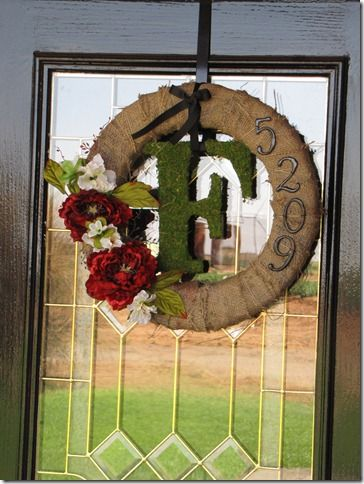 DIY door wreath - like the idea of monogram and house numbers...