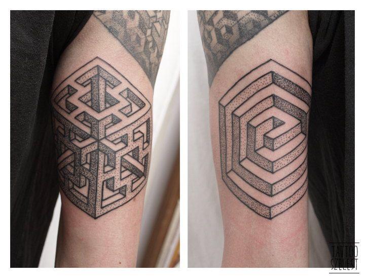 #szelest #tattoo #geometric #sacred #geometry #dotwork #impossible #psytrance #cube