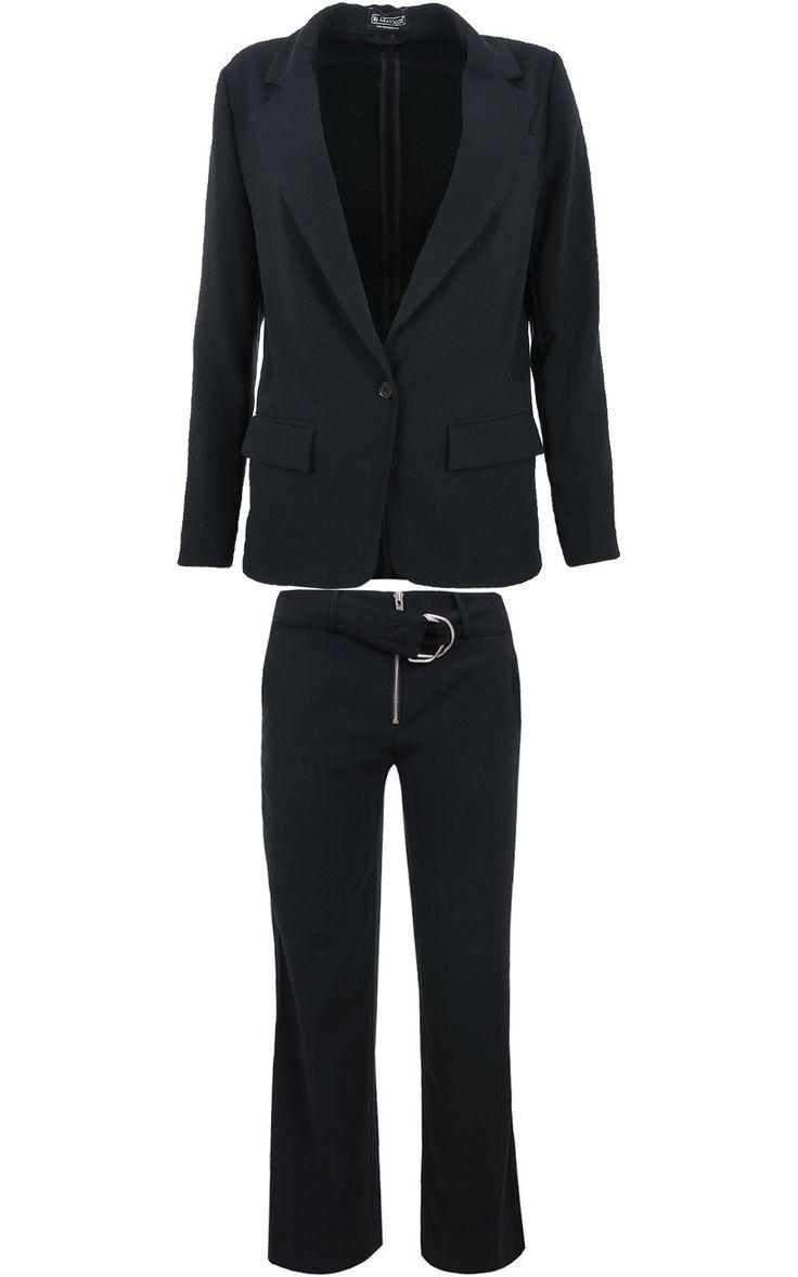 Laura Scott Suit Ladies Hosen-Anzug Business-Anzug Black 218651 Elegant Style